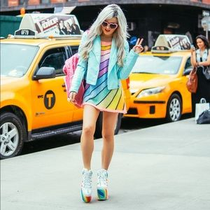 Wildfox Couture Pastel Rainbow Striped Shirt